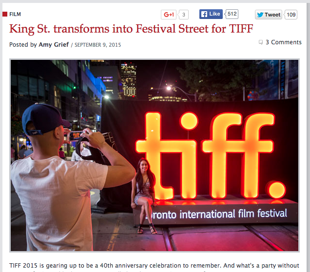 blogTO: King St. transforms into Festival Street for TIFF