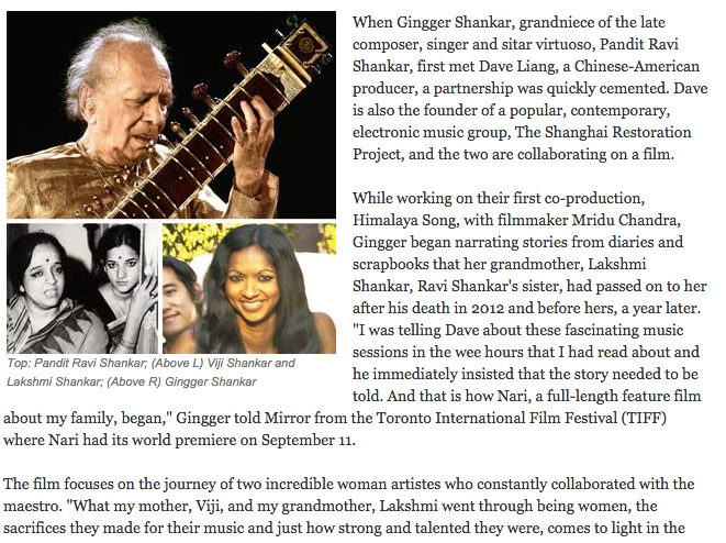 Mumbai Mirror: Film from Shankar Diaries Opens at TIFF