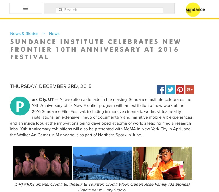 SUNDANCE INSTITUTE CELEBRATES NEW FRONTIER 10TH ANNIVERSARY AT 2016 FESTIVAL