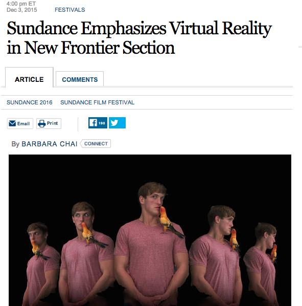 WSJ: Sundance Emphasizes Virtual Reality in New Frontier Section
