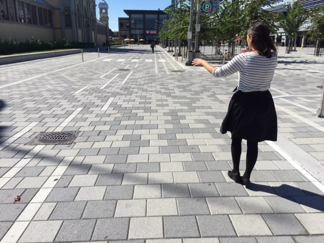 Jaime explaining the intentional pattern of the pavers at Lansdowne Park, which resembles the pattern on birch bark.                             Photo: C. Earnshaw
