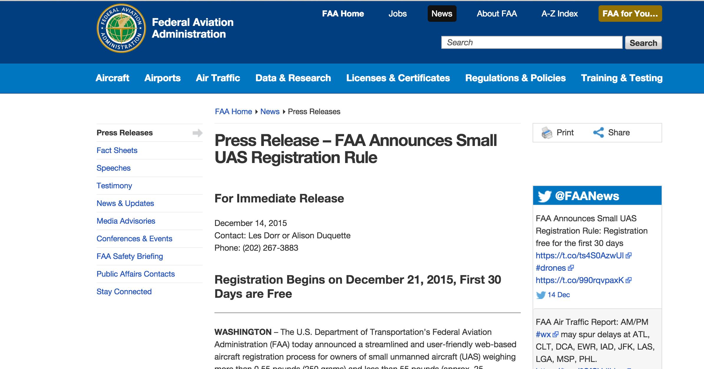 FAA.DroneRegistration.PressRelease