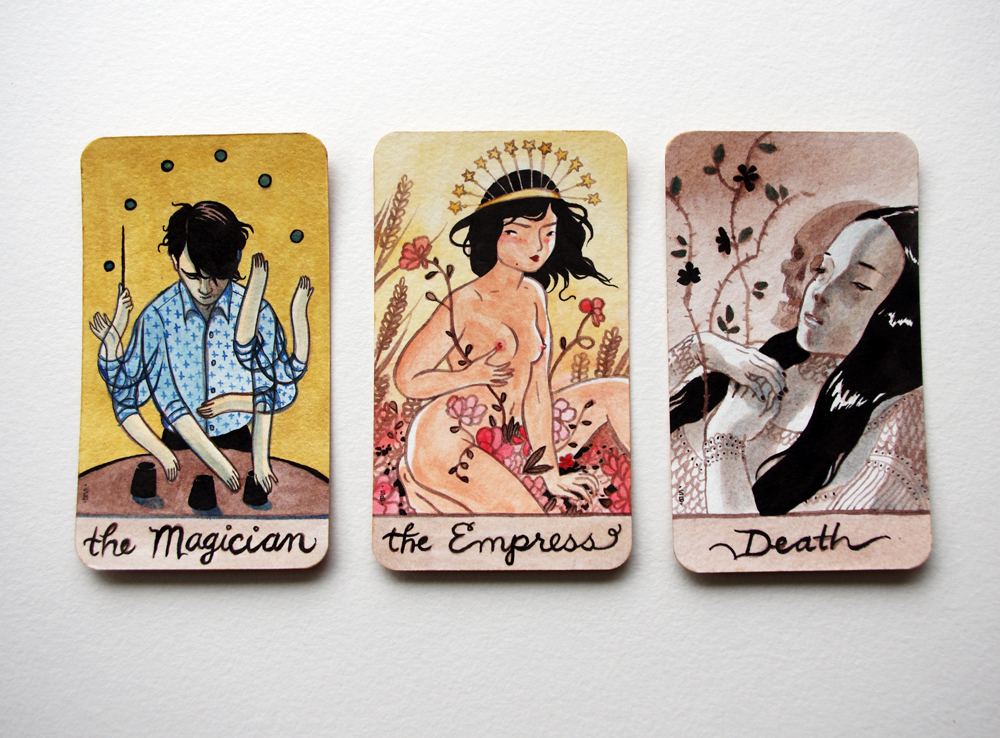 A few of the original hand-painted cards.