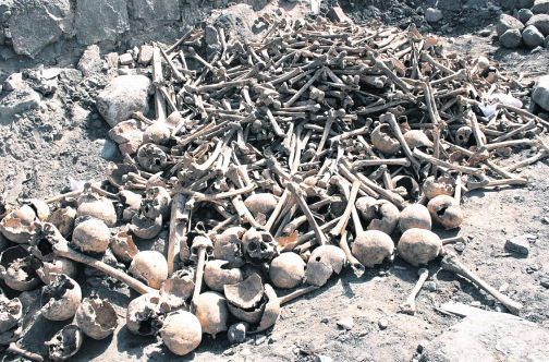 "Bones of ""The coming end Miracle"" victims in Longcao, China"
