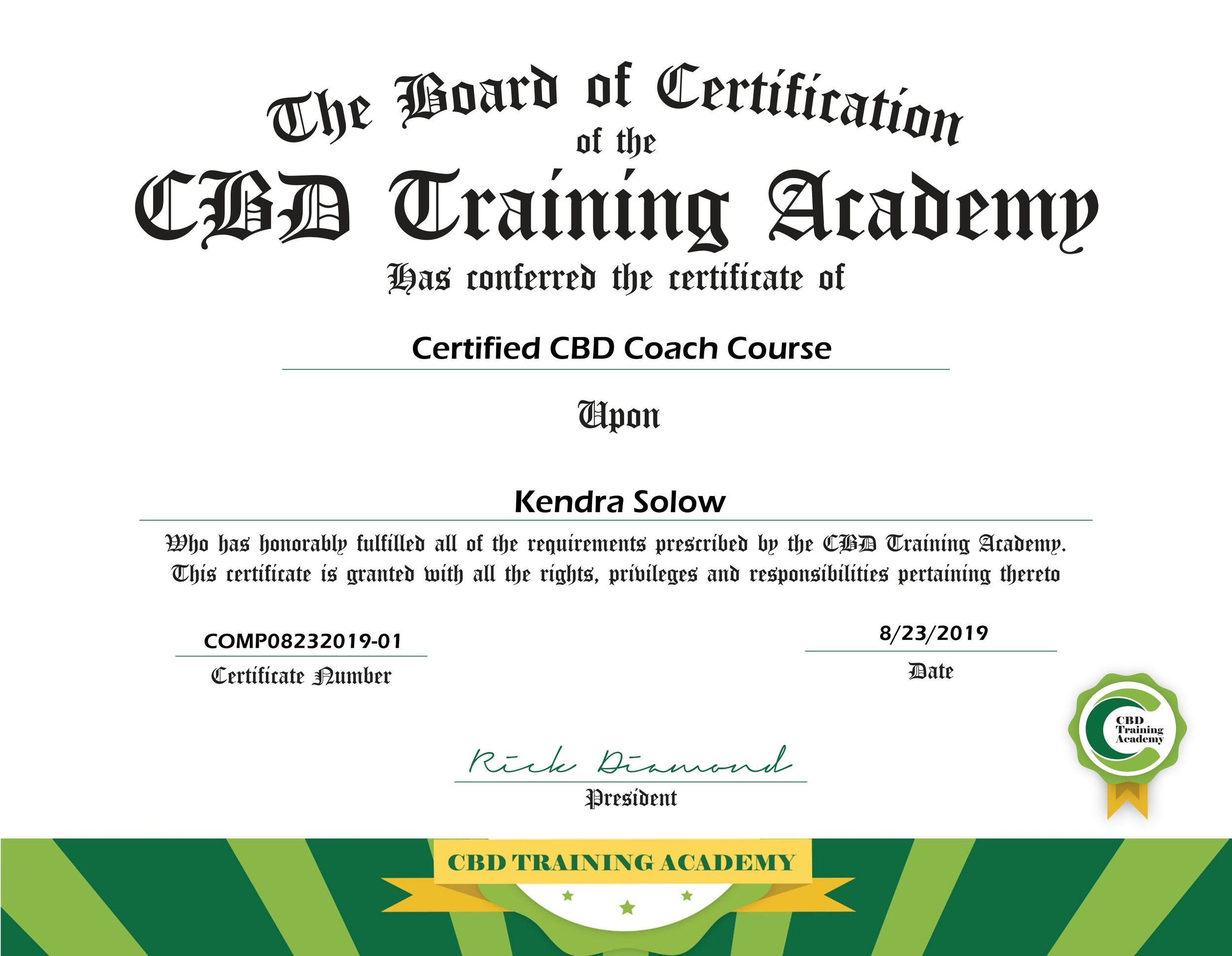Certified CBD Coach. - Learn more about Kendra, and her holistic health journey here.