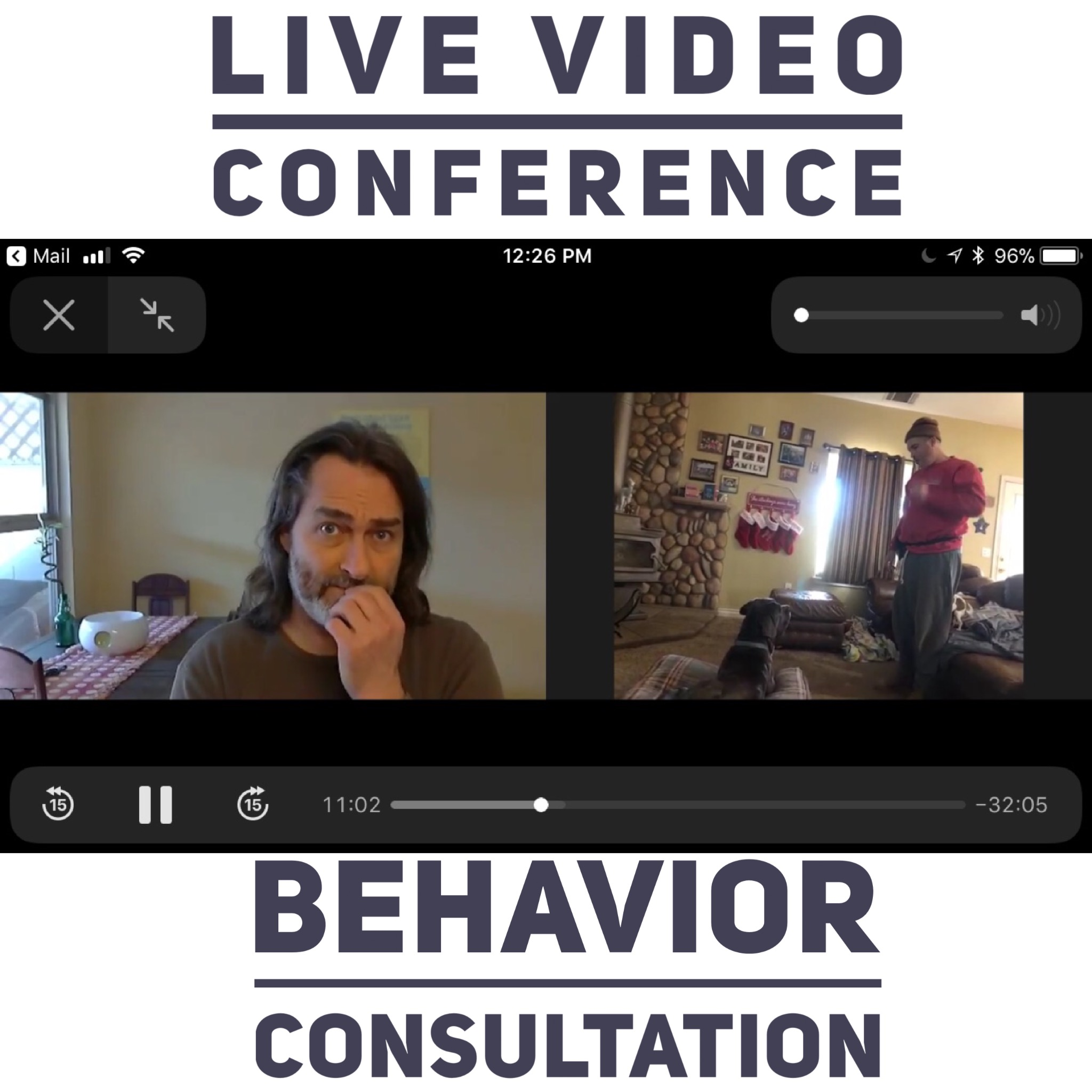 Virtual consultation with a client in California who's dog shows autistic symptom.