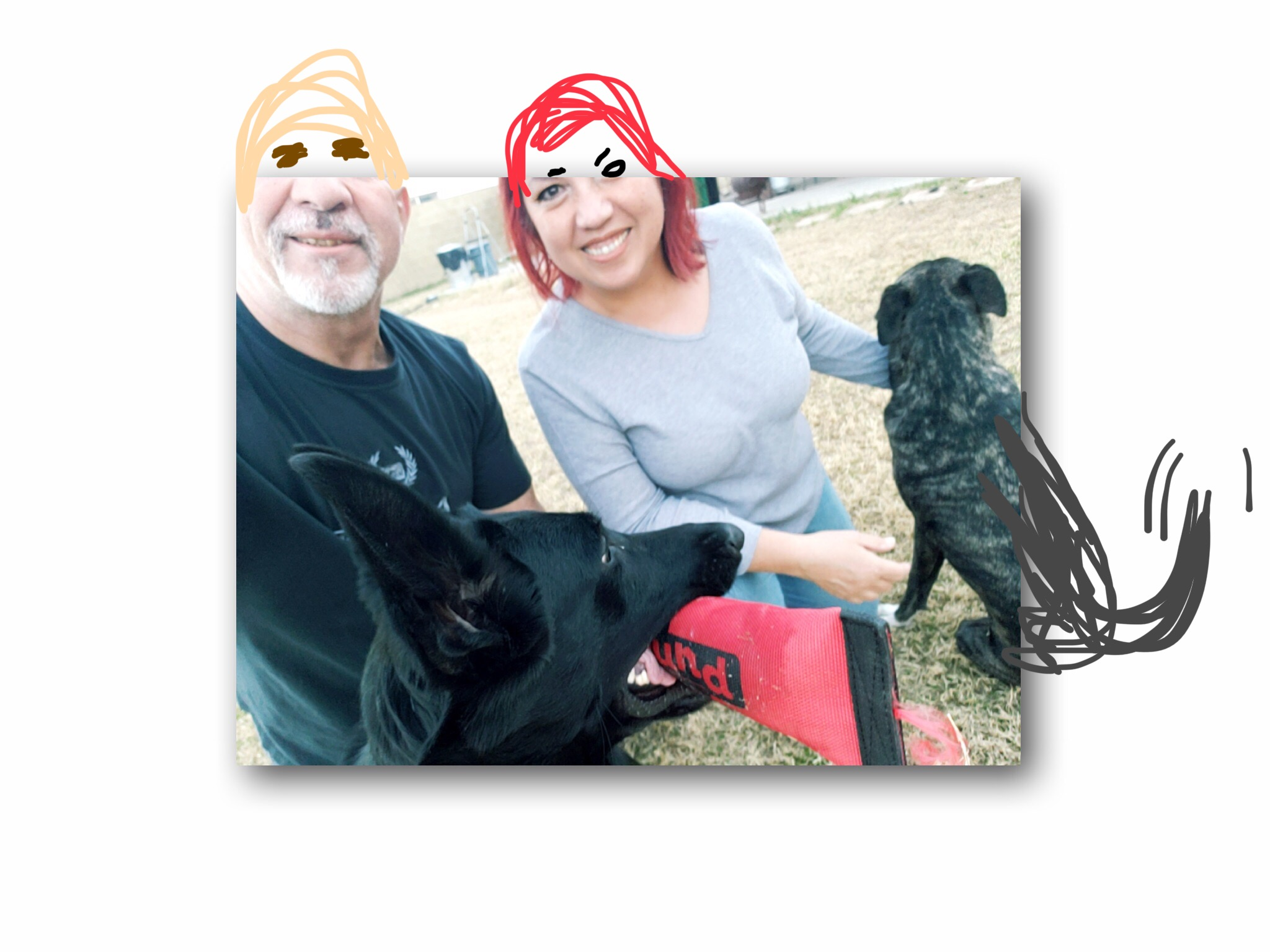 Selfies are not my forte 😂 - Me my spouse and my two dogs
