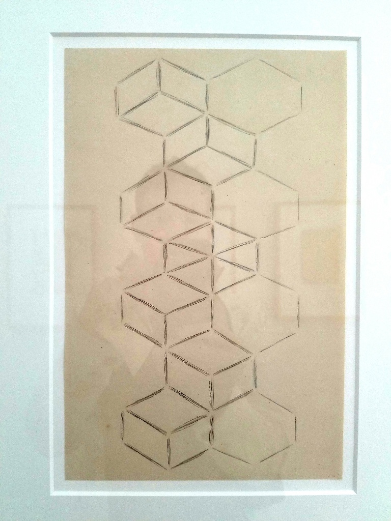 Lynne Woods at  Gallery Joe     Combining vintage papers with broken geometries is a shared love of mine.