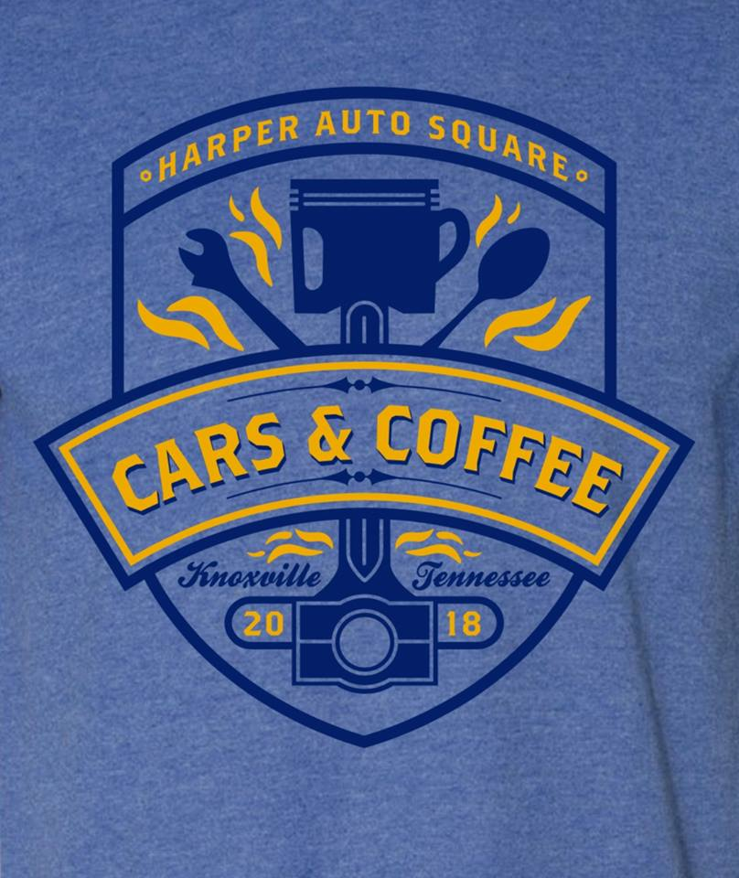 Harper Auto Square's Cars & Coffee 2018 T-Shirt by Label Industries (Blue)