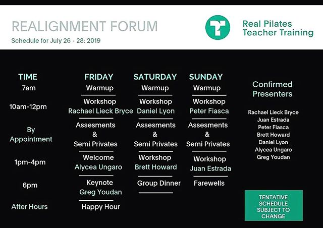 Head up Pilates teachers @therealpilates has announced the schedule for our annual Realignment Forum. We're excited to feel the real, come play with us! #classicalpilates #pilates #teachertraining #pilatesfriendsunited