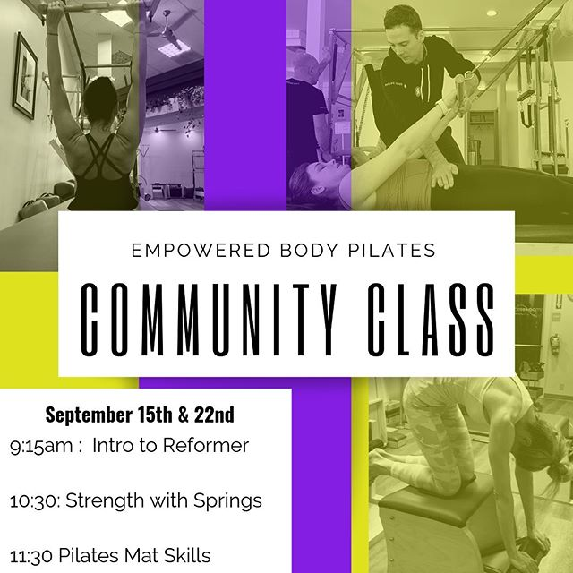 Join EBP this Sunday September 15th, for complimentary introductory classes. Our teachers will guide you through your first Pilates session introducing you to the equipment, and foundational concepts of the method, all while getting a workout! There are 3 classes to choose from: Reformer, Springs and Mat. 8 students per class. Link in Bio.  empoweredbodypilates #empoweredbody #pilateslosaltos #losaltos #losaltoshills