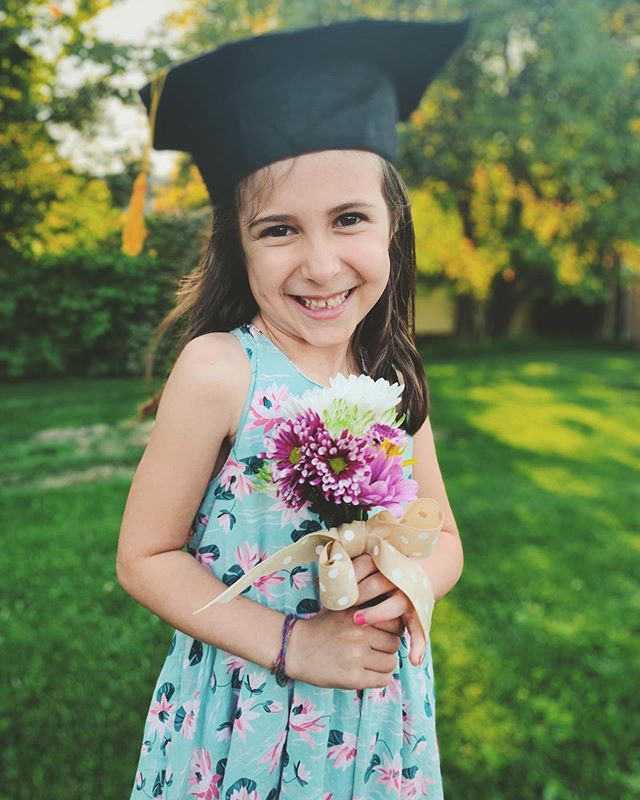 Harper graduated from preschool tonight. Lucy thrived in her first year. Amy wept through the whole ceremony yet remained beautiful for the photo. 😇