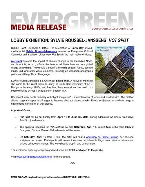 Hot Spot: Evergreen Media Release