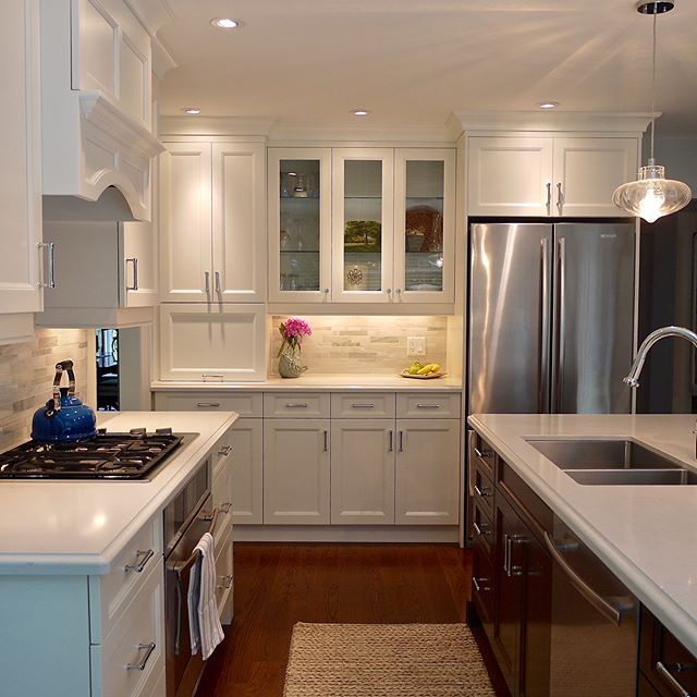 Timeless white kitchen #customcabinetry #elegantkitchen #quartzcountertops #ogeeedgeprofile #tastefullyappointed