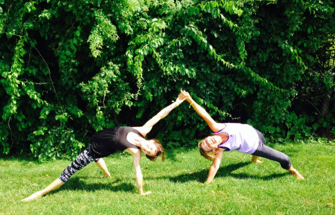 Holly Twining and Kelly Anchors at Maine Yoga Fest