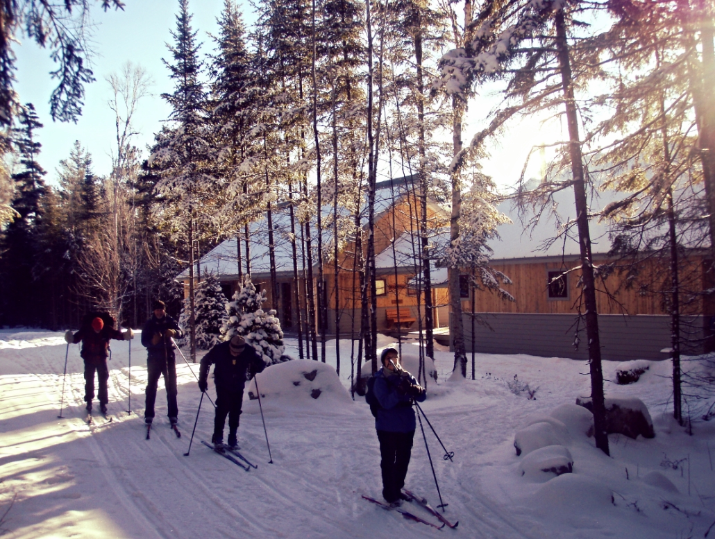 Skiers outside the Grand Falls Hut