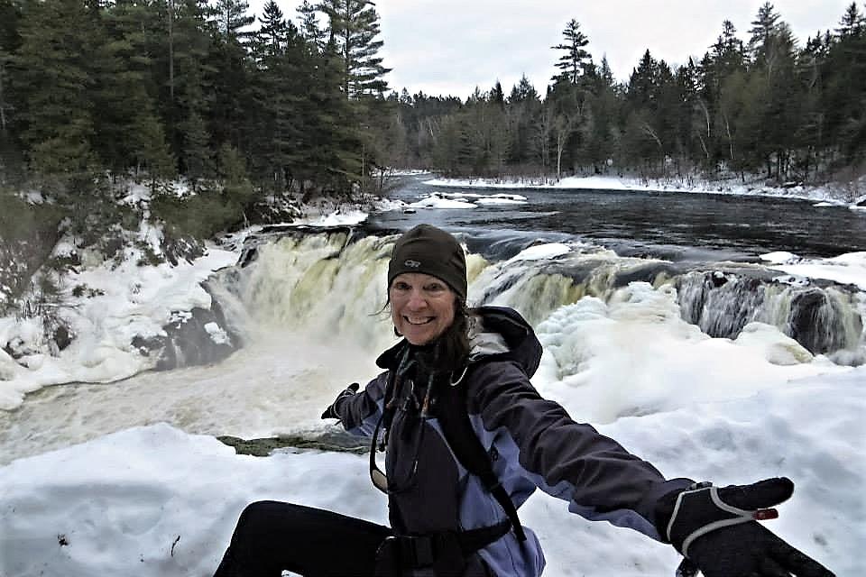 Karen at grand falls waterfall