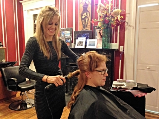 Stacey getting her do done