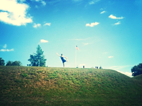 Holly practicing dancer on the gentle slopes