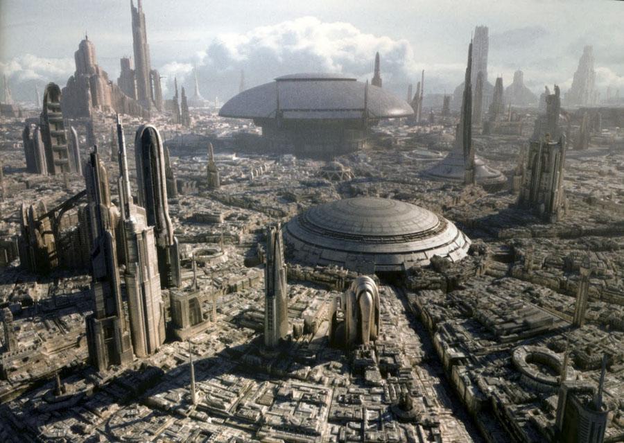 Imagen generada por completo por ordenador de la ficticia ciudad de Coruscant