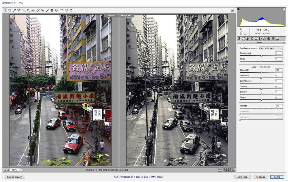 Camera Raw nos permite ver al mismo tiempo la fotografía original y la retocada