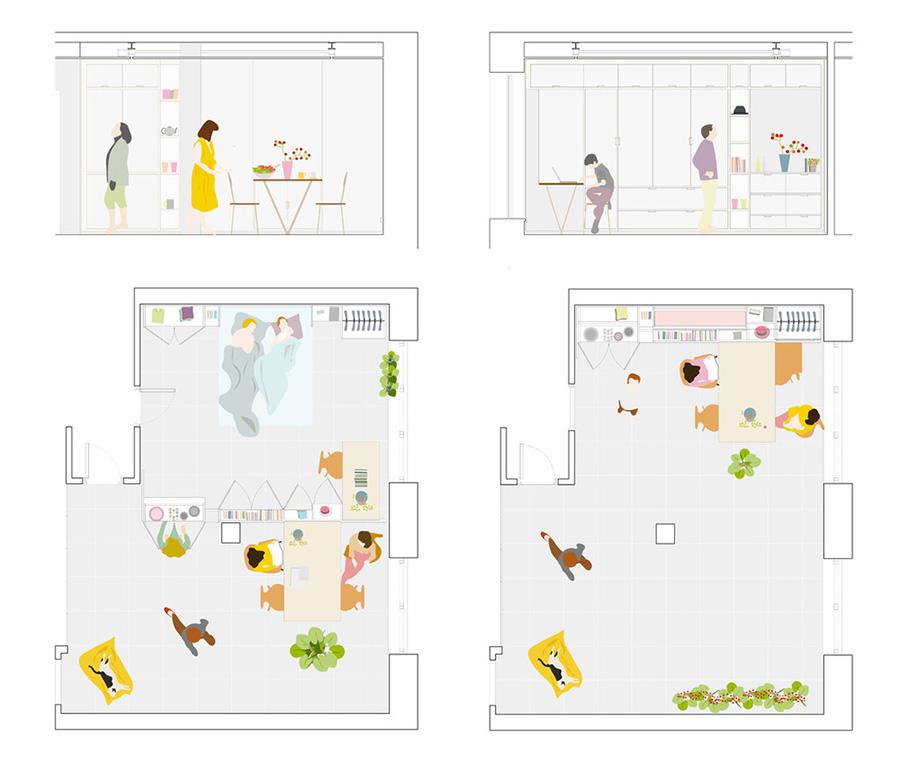 Casa Stella de PKMN Architectures, un tabique móvil motorizado modifica todo el espacio