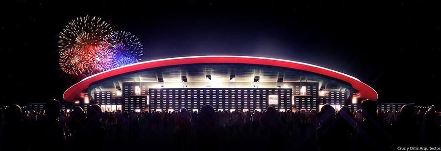 Vista exterior nocturna del nuevo estadio del Atlético de Madrid.