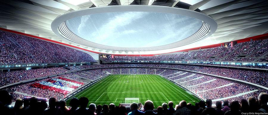 Vista interior del futuro estadio del Atlético de Madrid.
