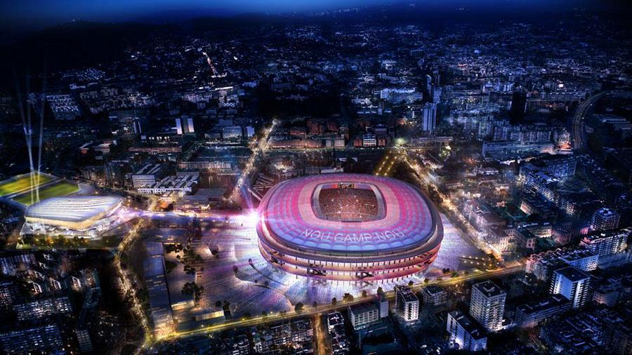 Vista nocturna del futuro Camp Nou.