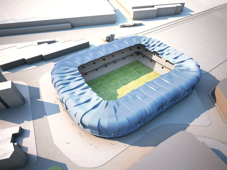 Aspecto final exterior de la reforma del estadio de Balaídos.