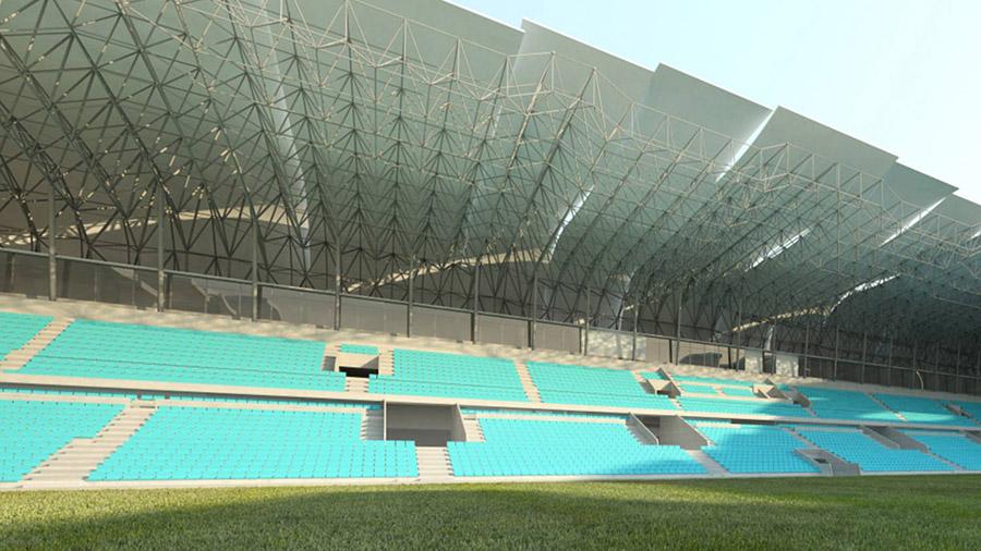 Vista desde el campo de juego de los graderíos y piezas de cubierta que forman la remodelación de Balaídos.