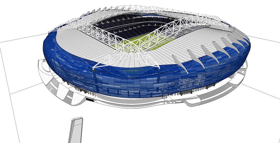 Vista 3D del proyecto de remodelación del estadio de Anoeta.