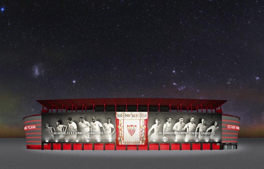 Aspecto final que tendrá la fachada del Ramón Sánchez Pizjuán tras su renovación.