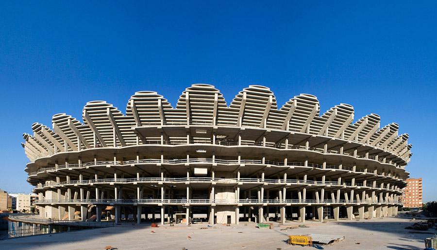 Estado actual de las obras del Nuevo Mestalla, paralizadas desde 2009.