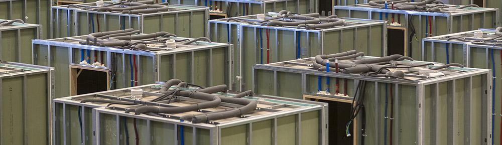 Módulos prefabricados de cuartos húmedos de la empresa Conspace.