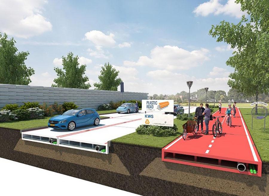 Proyecto para una calzada a base de plásticos reciclados en Rotterdam.
