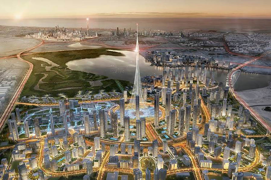 Infografía de la Torre de Dubai Creek Harbour. Calatrava.