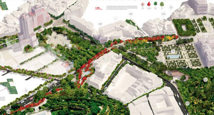 Vista aérea esquemática de la próxima remodelación de la Plaza de Ezpaña y su conexión con los jardines de Sabatini y el tempo de Debod.