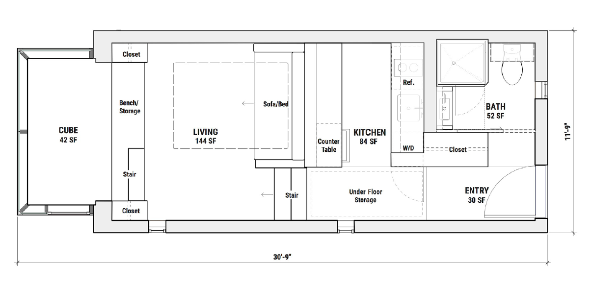 Plano de planta de la vivienda Kasita.