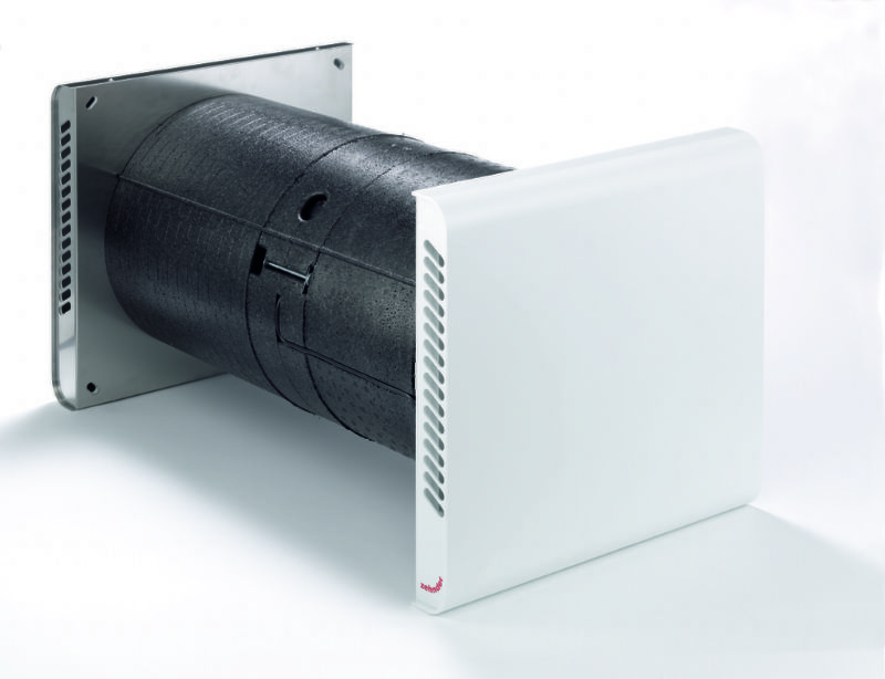 Un sistema de ventilación forzada con recuperación de calor para empotrar en fachada