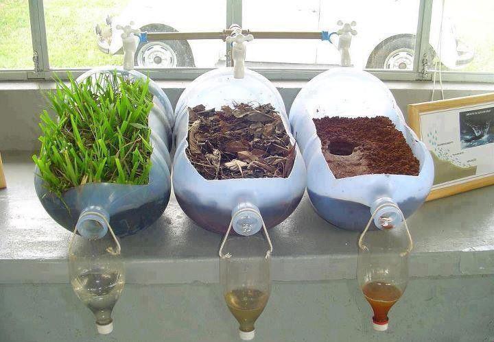 Agua filtrada en terreno con vegetación, terreno con restos orgánicos y terreno arenoso sin ningún tipo de vegetación.