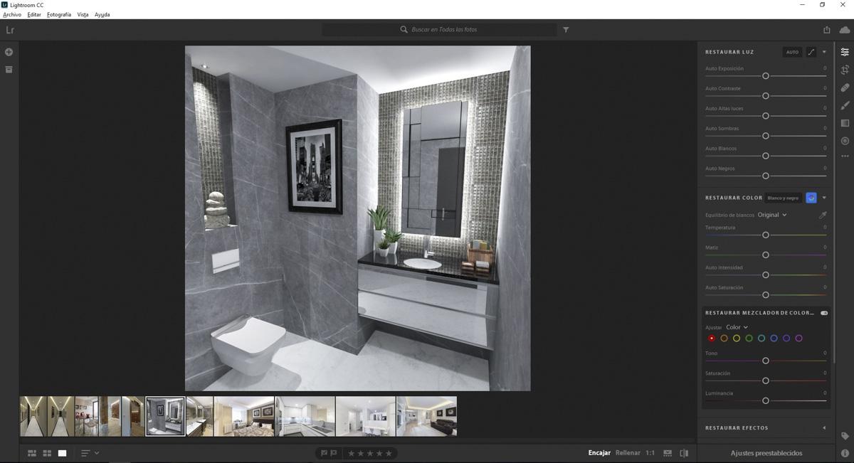 Sistema de edición fotográfica de Lightroom CC