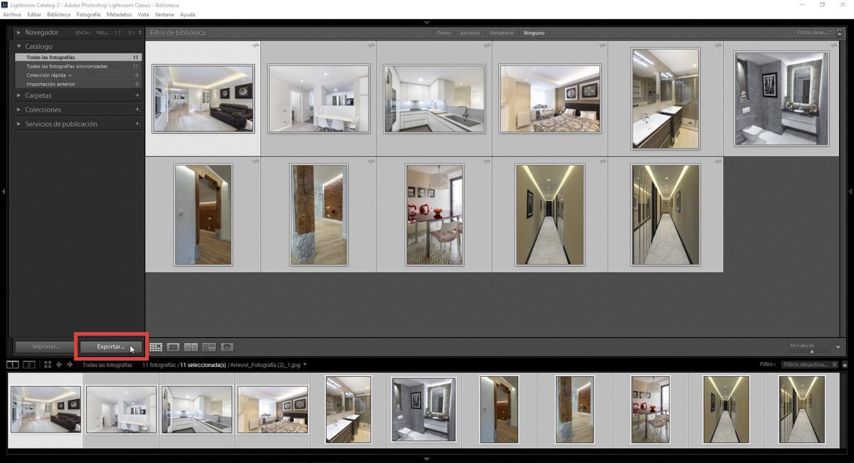 """Lightroom, a diferencia de otros programas como Photoshop, no funciona con comandos como """"Abrir"""" y """"Guardar"""", sino que las imágenes se deben """"Importar"""" y """"Exportar""""."""