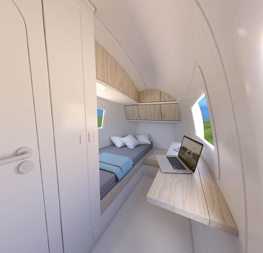 Vista interior de la zona de estar-dormitorio.
