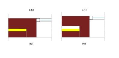 DETALLES CON PUENTE TÉRMICO   GRAVE  - Jambas sin continuidad entre el aislamiento de fachada y la carpintería, con una separación importante entre estos elementos.