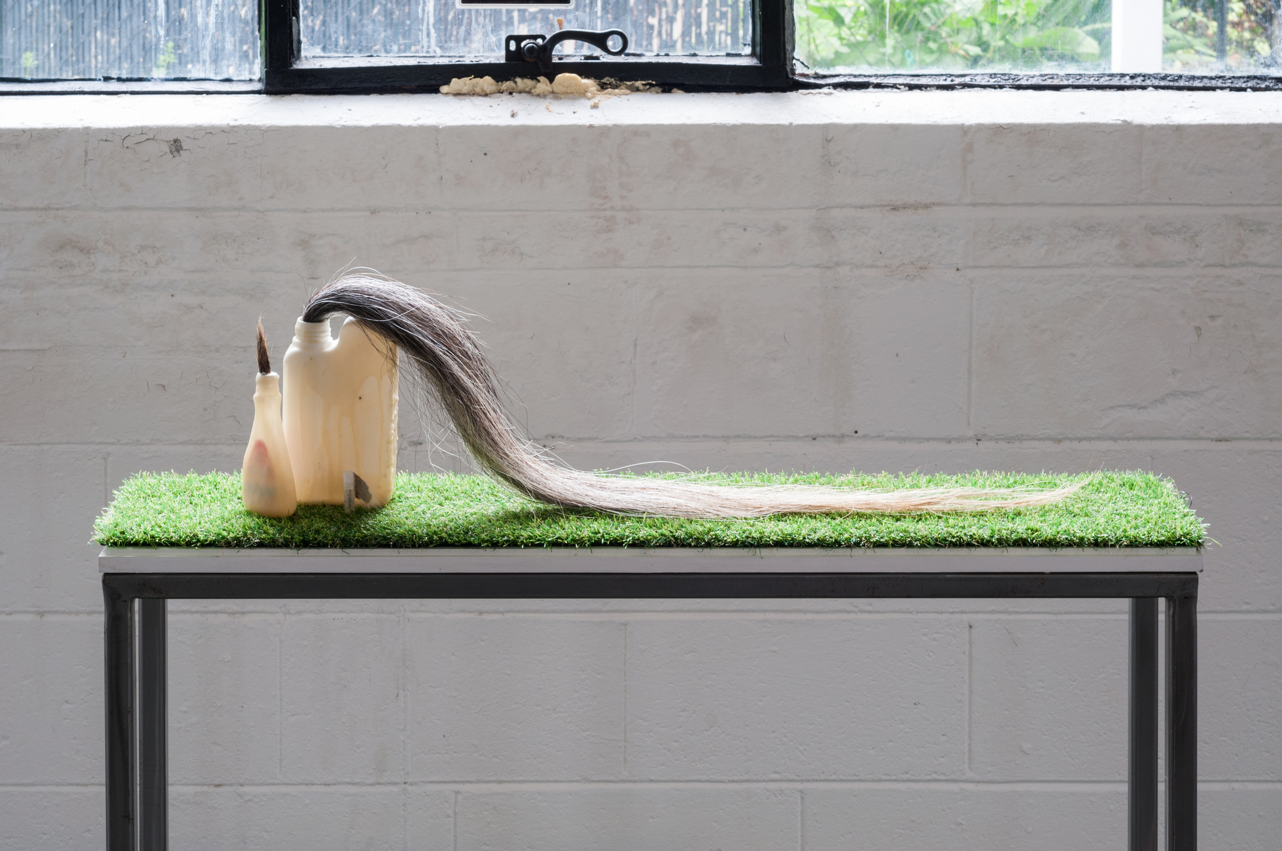 """au natural"" horse hair, goat fur, beewax, damar resin, various beauty products, astroturf 37"" x 8"" x 9"""