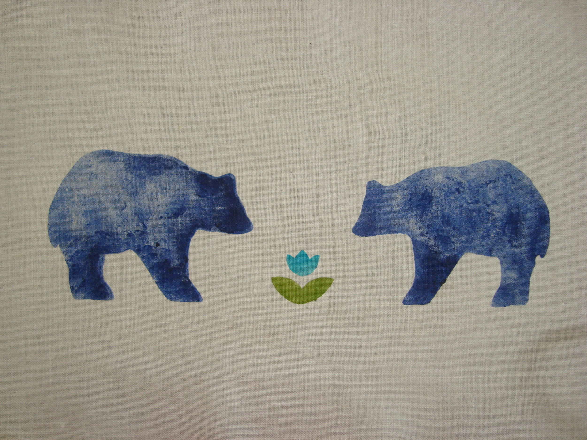 A pair of bears enjoying the first flower of Spring (on dove roller shade cotton). The Spring Bear stencil is thirteen inches wide and priced at $42.00 per width of curtain or shade.