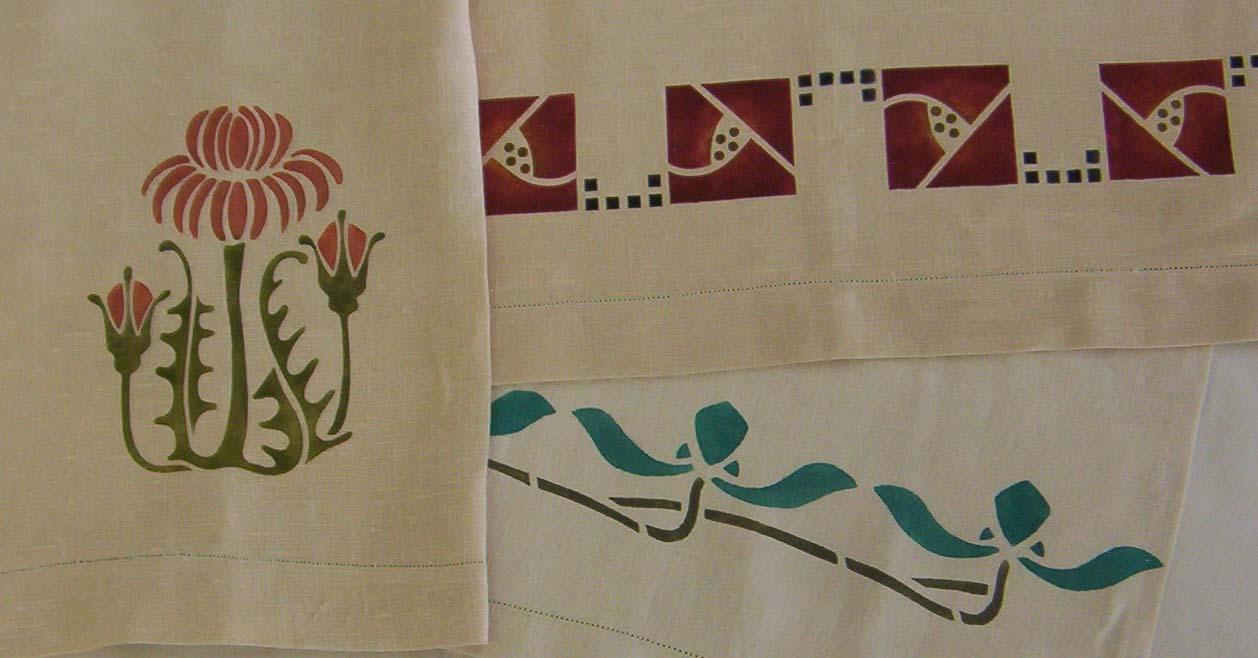 Shown here, the Thistle Medallion, Simple Rose Border & the Iris Border.