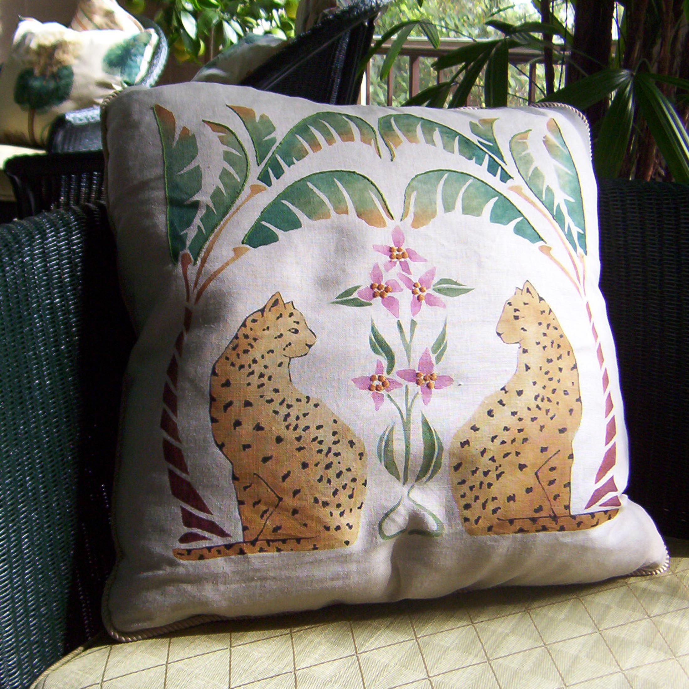 An original design for a couple of pillows for a rather elegant conservatory in Los Angeles. The pillows are stenciled, hand painted and picked out with machine stitching.