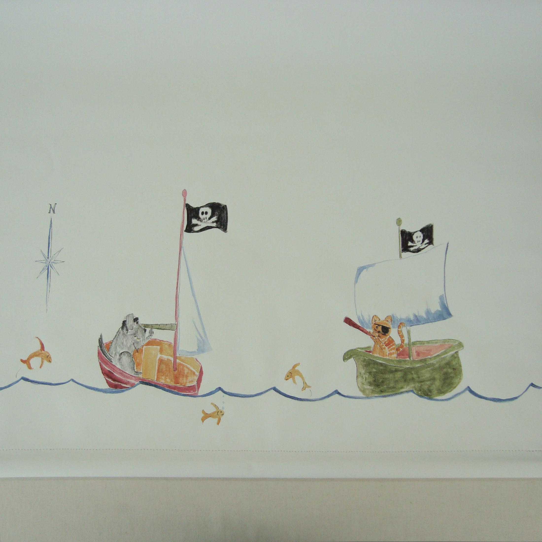 A hand painted border of animal pirates for a children's room. These characters were inspired by a circa 1920's vintage fabric that the homeowner had found.